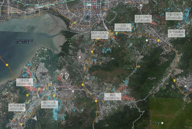 本土研究社以 Google Map 航空照片及實地考察測量棕土範圍。