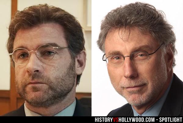 Marty Baron(右)不滿教會拖延多年才處理有份參與掩蓋性侵案的主教。左為在電影中飾演他的 Liev Schreiber。