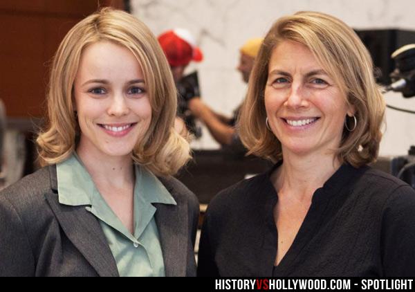 Rachel McAdams(左)飾演焦點新聞組記者 Sacha Pfeiffer。