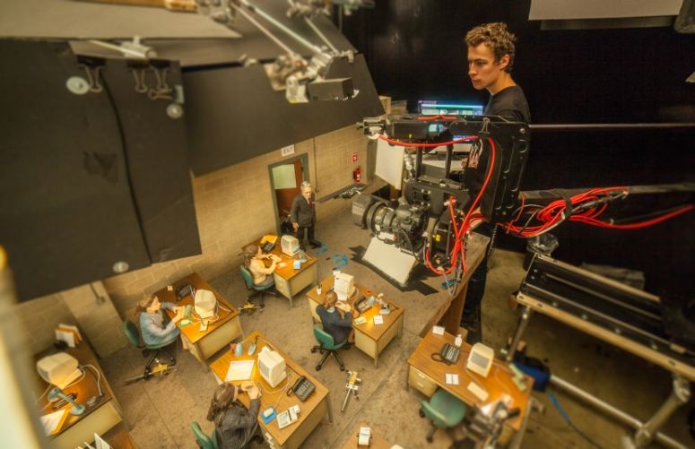 Animator, Dan Mackenzie on the set of the animated stop-motion film, ANOMALISA, by Paramount Pictures